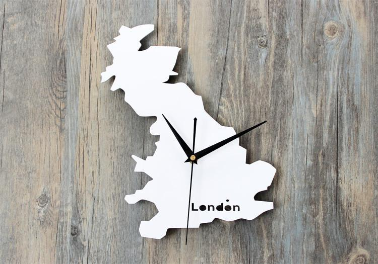 United Kingdom Map Designed Wall Clocks