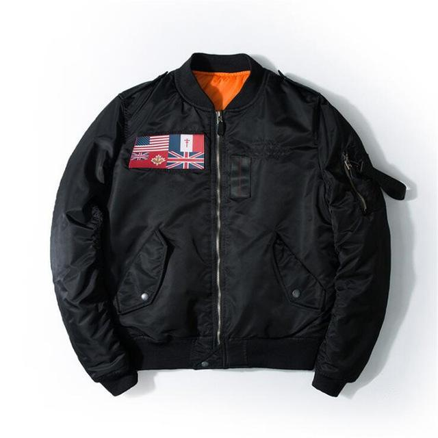 US & UK Flags Printed Pilot Bomber Jackets