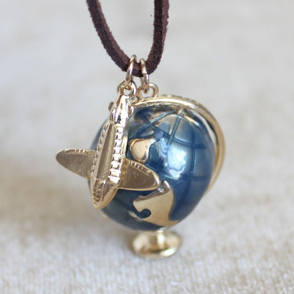World & Airplane Necklace