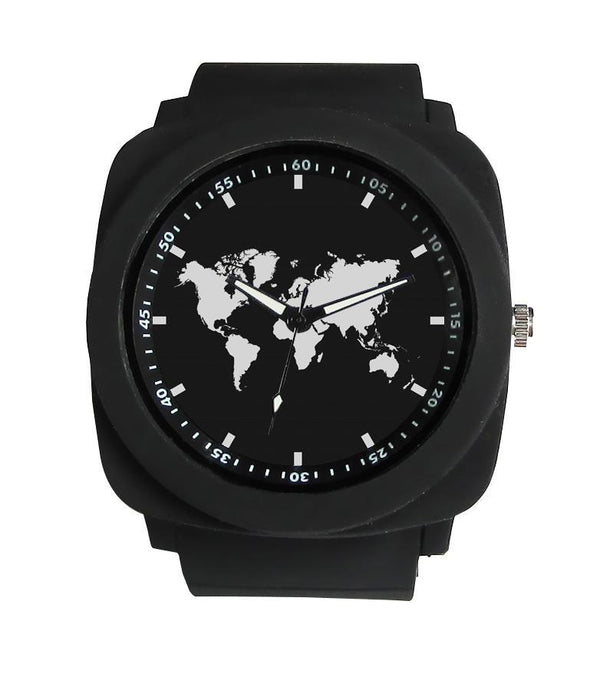 World Map Designed Rubber Strap Watches