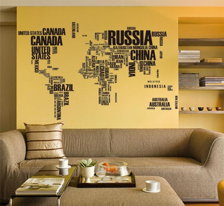 World Map With Letters Designed Wall Sticker