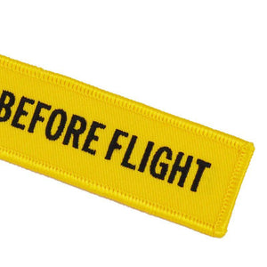 Yellow Remove Before Flight Designed Key Chains