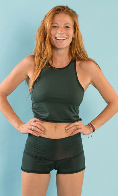 Hunter Green Mermaid Tank | Teeki - Focus Active, Shop Best Activewear Singapore, Affordable Activewear