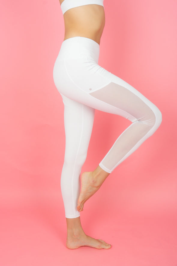 Portia Hi-Mesh Leggings (Snow) | Rangoon - Focus Active, Shop Best Activewear Singapore, Affordable Activewear