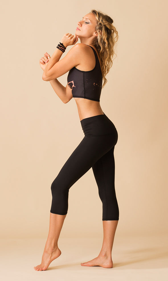 Solid Black Goddess Capri | Teeki - Focus Active, Shop Best Activewear Singapore, Affordable Activewear
