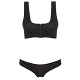CHARLIE - Black neoprene two-piece crop top set with black binding.