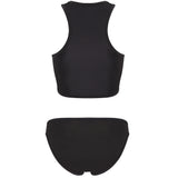 INDIA - Black neoprene two-piece tank top with black binding.