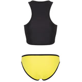 INDIA - Lime neoprene two-piece tank top set with black binding.