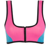 CHARLIE - Pink/Turquoise neoprene two-piece Crop Top Set with black binding