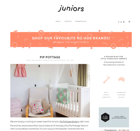 Juniors Design Blog article about Pip Pottage Designs Eco Friendly children's decor