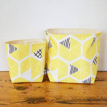 Eco Storage Buckets with Geometric Shapes in 4 colours