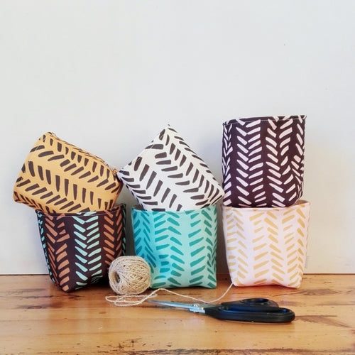 Happy Buckets - hand drawn herringbone 6 colours