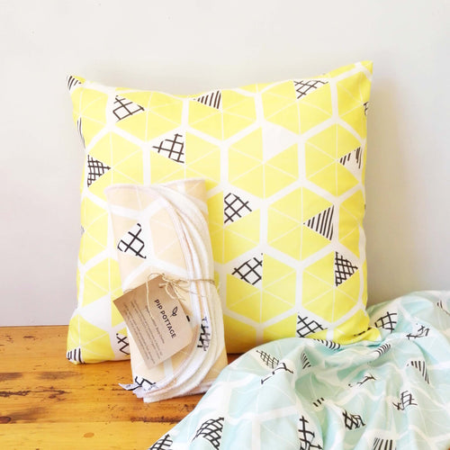 Yellow Hexagon Cushion