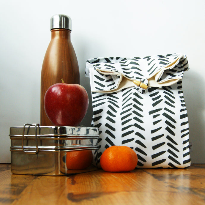 Washable Lunch Bag | Eco Canvas - Black and white