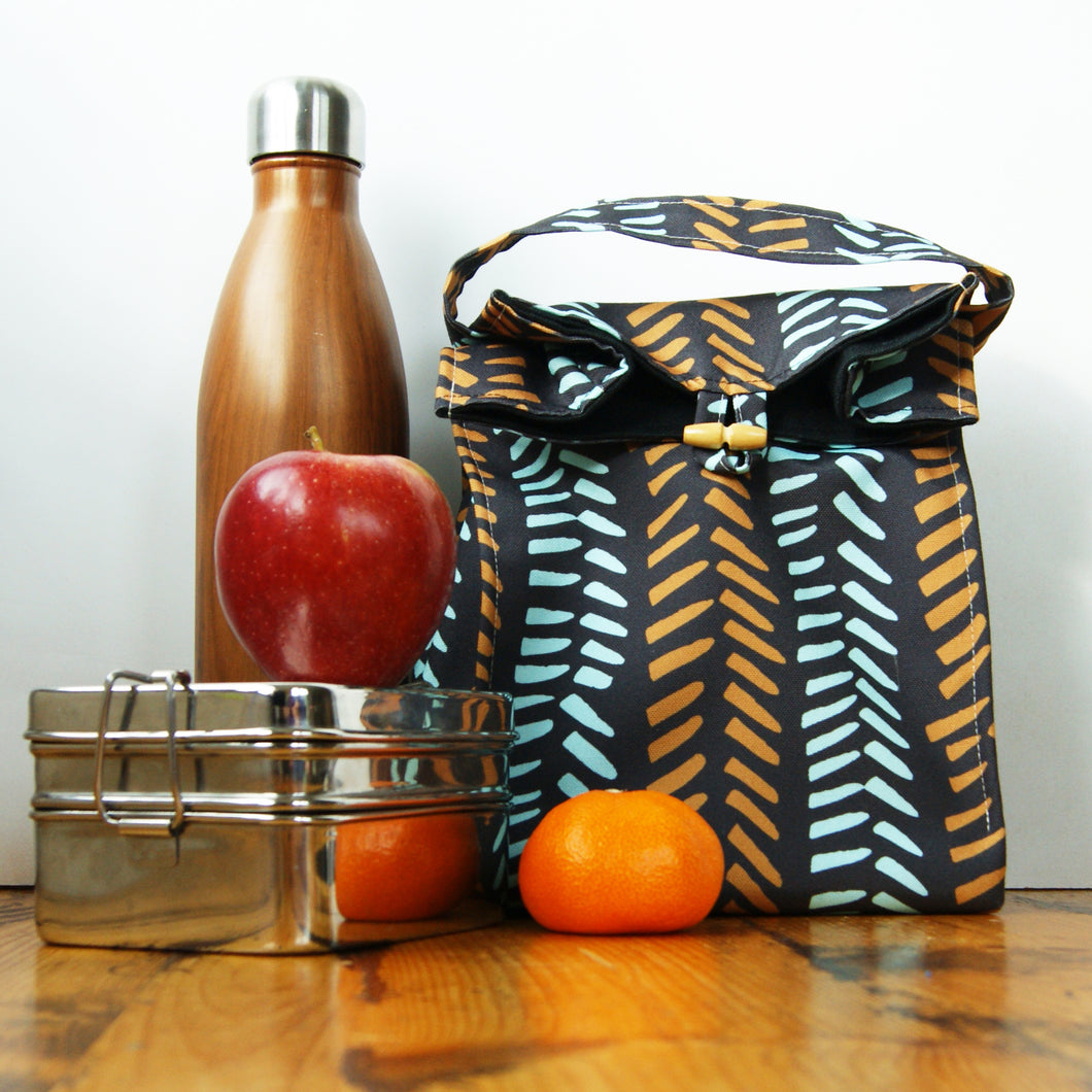 Washable Lunch Bag | Eco Canvas - Mustard and Aqua on black