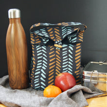 Washable Lunch Bag | Organic Canvas - Mustard and Aqua on black