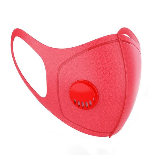 Adult Face Mask with Air Valve - Red