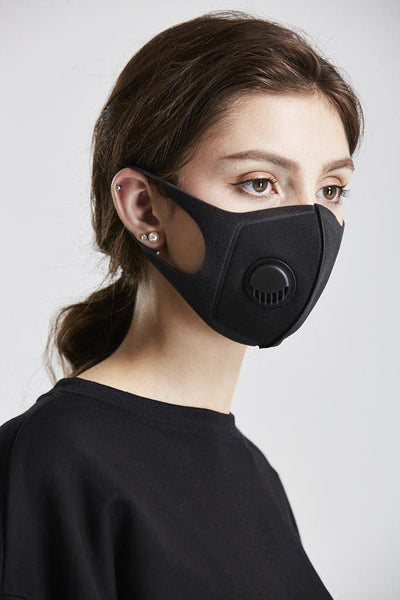 Adult Face Mask with Air Valve - Black