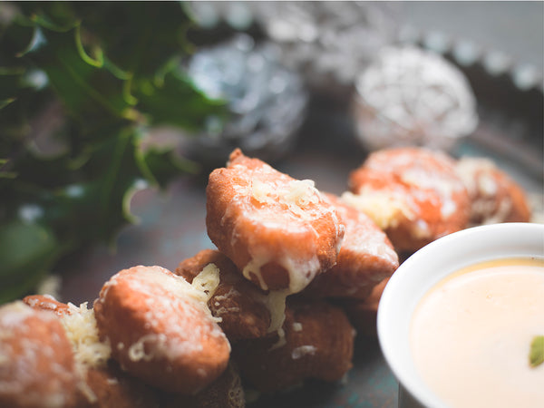 Savoury Beignets' with 1833 and Harry's cider served with spiced cider dip.