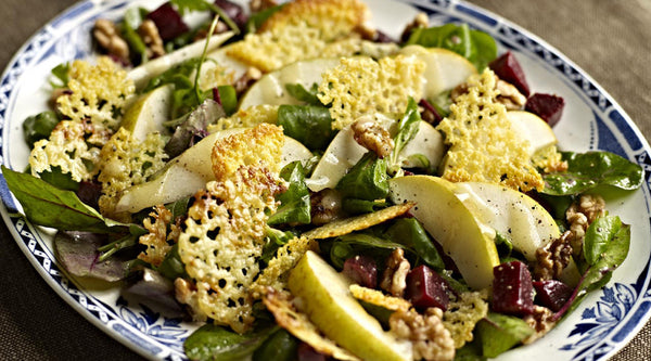 Pear & Beetroot Salad with Cheese Wafers