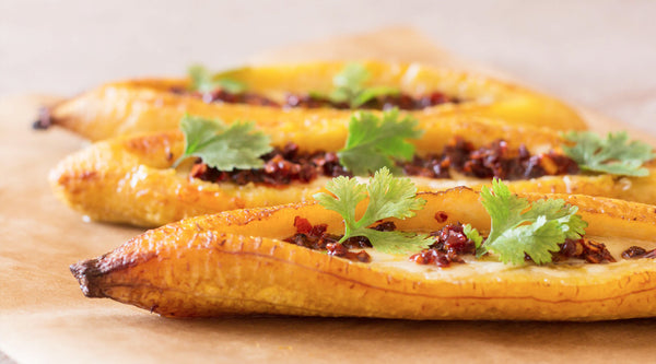 Cheesy Baked Plantains (with Chilli)