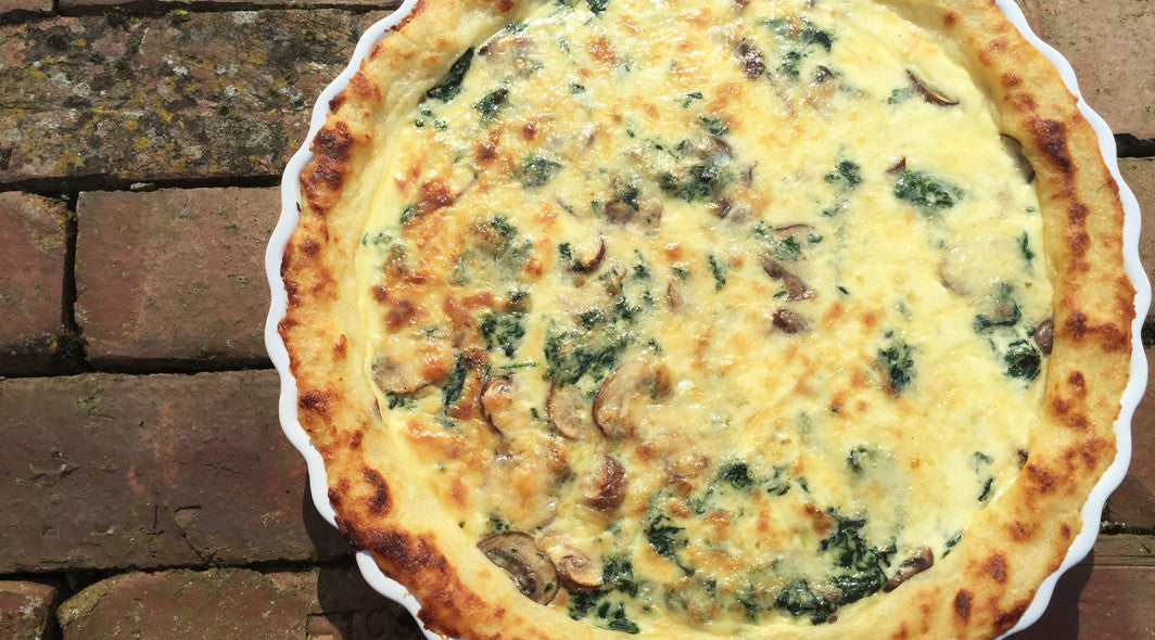Cheesy Spinach, Mushroom & Potato Crust Pie
