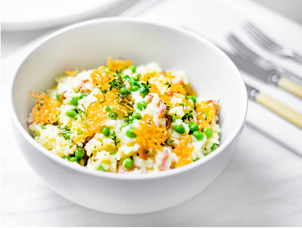 CHEDDAR, BACON AND GARDEN PEA RISOTTO