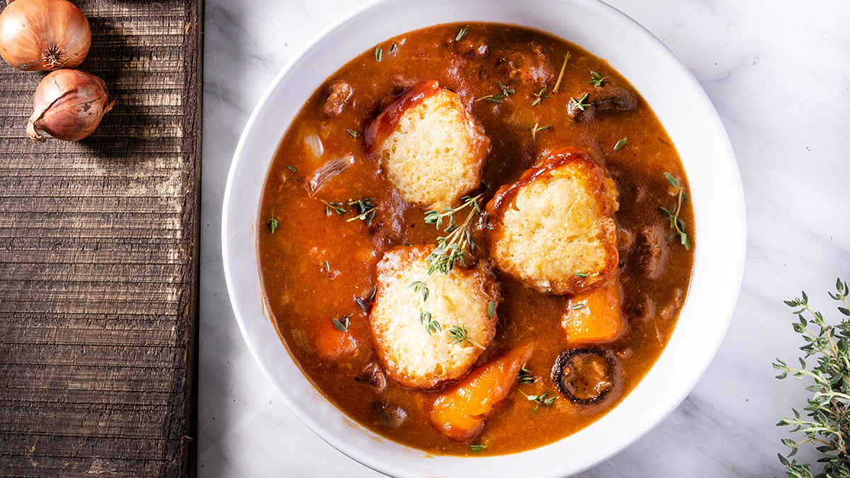 Beef & Stout Stew with Cheddar Dumplings