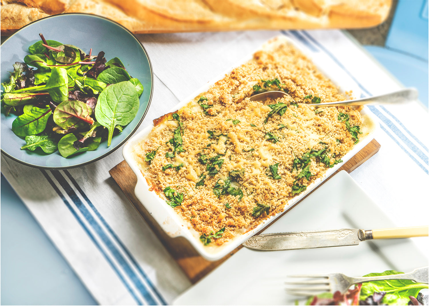 Cheddar, Cider, Cod and Leek Crumble