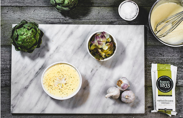 Garlic Cheese Dipping Sauce and Fresh Artichoke