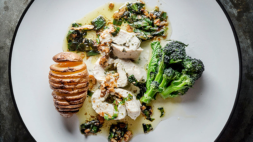 Wild Garlic Chicken with Hasselback Potato and spring Broccoli