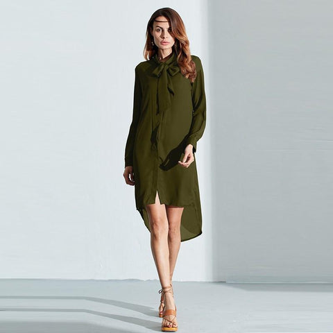 Moushart Deals blouse ArmyGreen / S Casual Asymmetrical Chiffon Long Sleeve Blouse - Plus Sizes Available