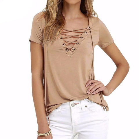 Moushart Deals blouse Khaki / S Sexy V Neck Short Sleeve Hollow Out Lace Up Blouse