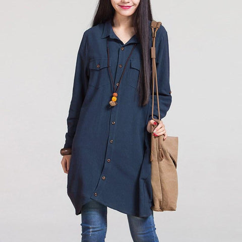 Moushart Deals blouse Navy / S Long Sleeve Irregular Hem Cotton Loose Blouse