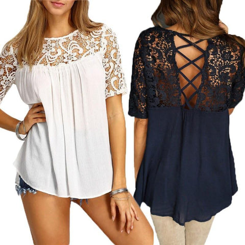 Moushart Deals blouse Off White / S Casual Lace Crochet Hollow Out Loose Blouse - Plus Sizes Avaialable