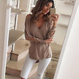 Moushart Deals blouse Sexy V Neck Split Tops Long Sleeve Blouse
