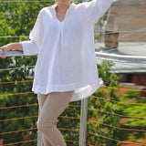 Moushart Deals blouse White / S Autumn Casual Loose Sexy V Neck Blouse - Plus Size S-5XL