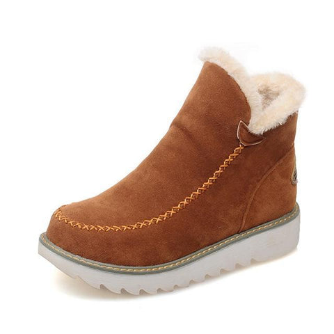 Moushart Deals Boots brown / 6 Round Toe Flats Winter Boots
