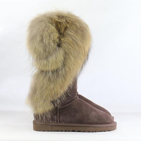 Moushart Deals Boots Chocolate / 4 Fur Leather Snow Long Boots