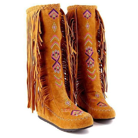 Moushart Deals Boots Yellow / 4 Native American Fashion Boots - Plus Sizes Available