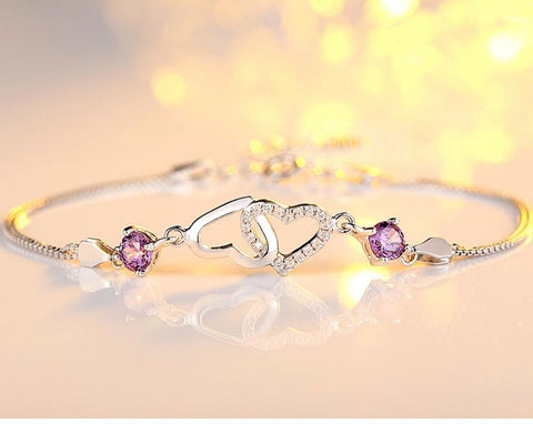 Moushart Deals bracelet Silver Charming Silver Double Heart Design Purple Crystal Bracelet Cuff