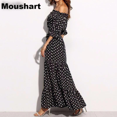 Moushart Deals dress Black / S Polka Dot Off Shoulder Ruffles Maxi Long Dress