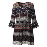 Moushart Deals dress Floral 1 / S Mini V Neck Lace Up Dress - 3/4 Sleeve