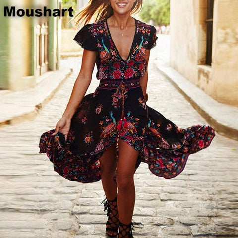 Moushart Deals dress Floral / S Summer Boho Dress Ethnic Sexy Print Retro Vintage Dress - Plus Sizes Available