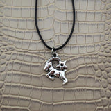 Moushart Deals necklace Aries / Silver Vintage Silver Zodiac Signs Pendant 17""