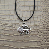 Moushart Deals necklace Leo / Silver Vintage Silver Zodiac Signs Pendant 17""