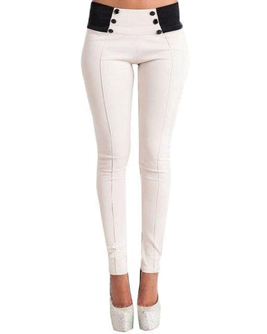 Moushart Deals pants White / S Slim Low Waist Skinny Trousers Feet Bodycon Leggings Pants