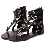 Moushart Deals sandals Black / 5 Crosses Skull Gladiator Sandals