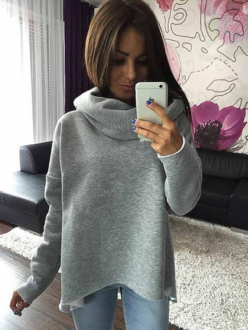 Moushart Deals sweatshirt Gray / S Winter Scarf Collar Long Sleeve Casual Sweatshirts