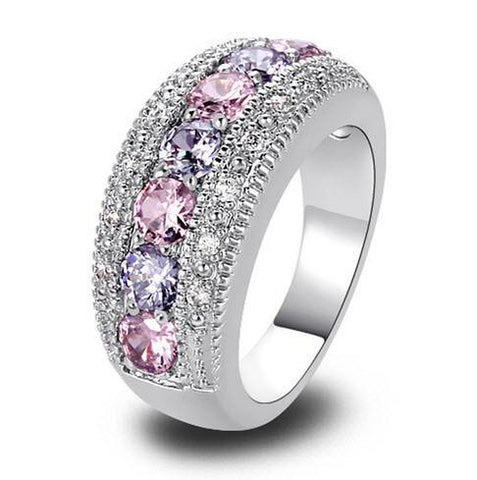 Moushart ring Exquisite Women Jewelry Round Cut Pink & White Sapphire - Free Shipping